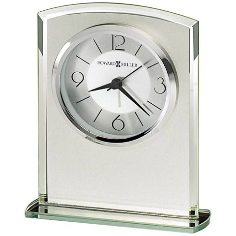 """Howard Miller Glamour 6 1/4"""" High Frosted Glass Table Clock"""