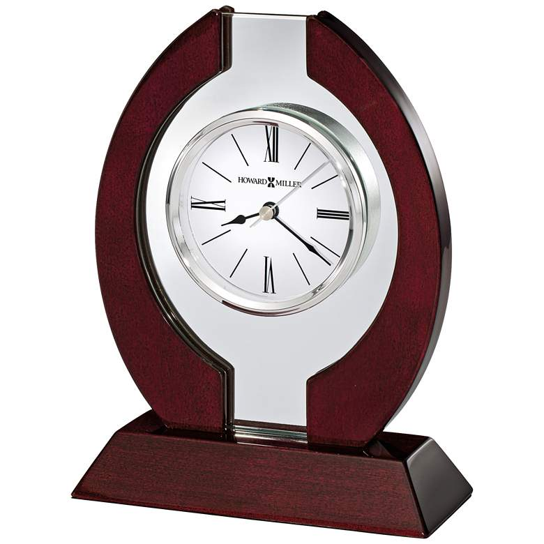 """Howard Miller Clarion 8 1/4"""" High Rosewood Hall Table Clock"""