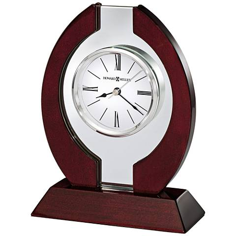 "Howard Miller Clarion 8 1/4"" High Rosewood Hall Table Clock"