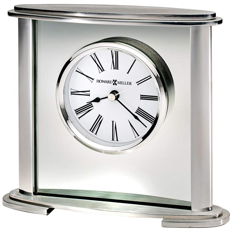 "Howard Miller Glenmont 7"" Wide Polished Silver Clock"