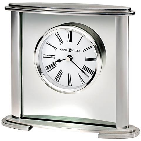 """Howard Miller Glenmont 7"""" Wide Polished Silver Clock"""