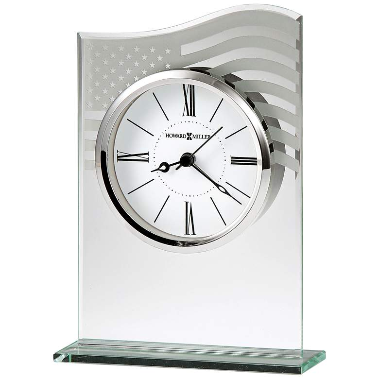 """Liberty 7"""" High American Flag Etched Glass Alarm Clock"""