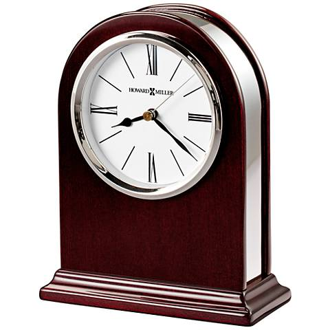"Howard Miller Peyton 7"" High Silver-Trim Rosewood Clock"