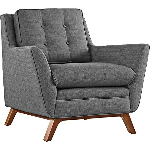 Beguile Gray Fabric Tufted Armchair