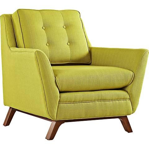 Beguile Wheatgrass Fabric Tufted Armchair