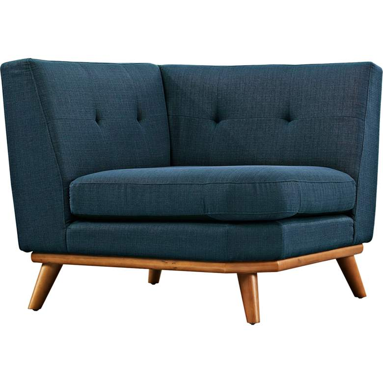 """Engage 39 1/2"""" Wide Azure Blue Fabric Tufted"""