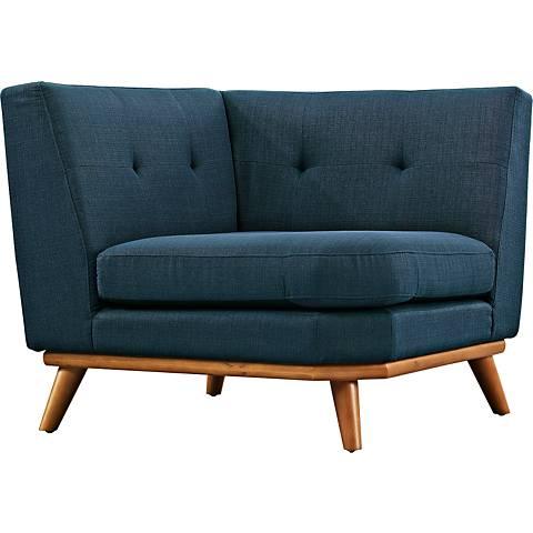Engage Azure Fabric Tufted Corner Sofa