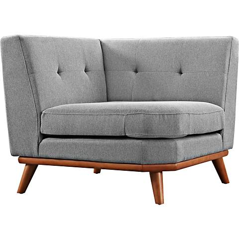 Engage Expectation Gray Fabric Tufted Corner Sofa