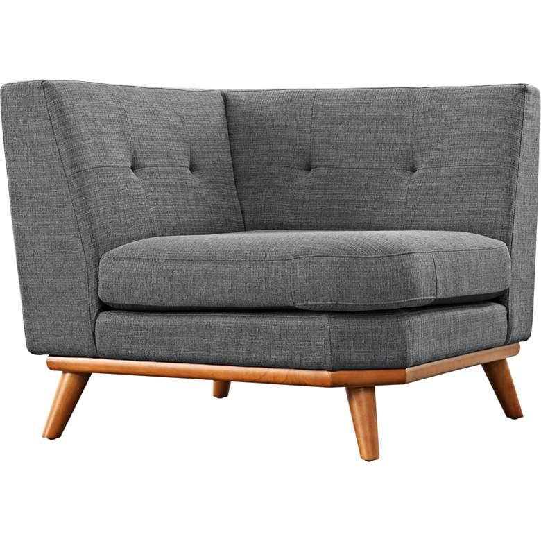 "Engage 39 1/2"" Wide Gray Fabric Tufted Corner Sofa"