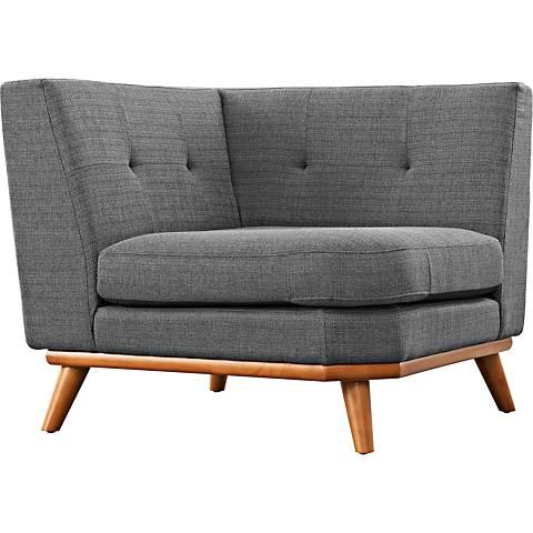 Engage Gray Fabric Tufted Corner Sofa