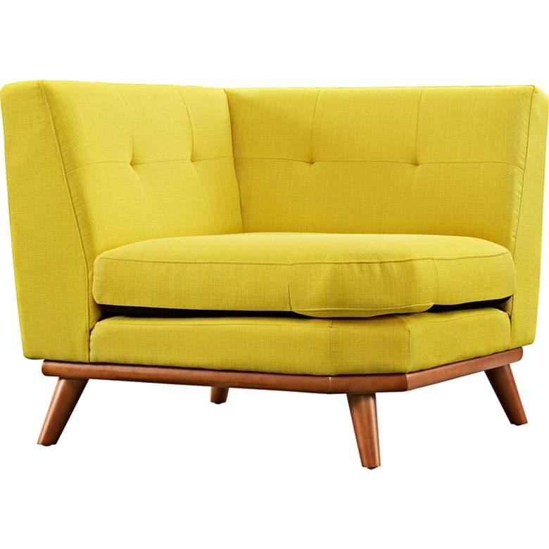 "Engage 39 1/2"" Wide Sunny Yellow Fabric Tufted Corner Sofa"