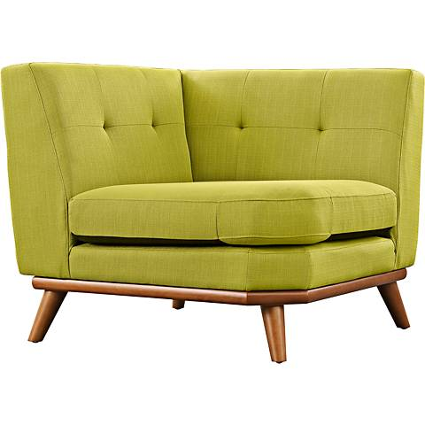 Engage Wheatgrass Tufted Fabric Corner Sofa