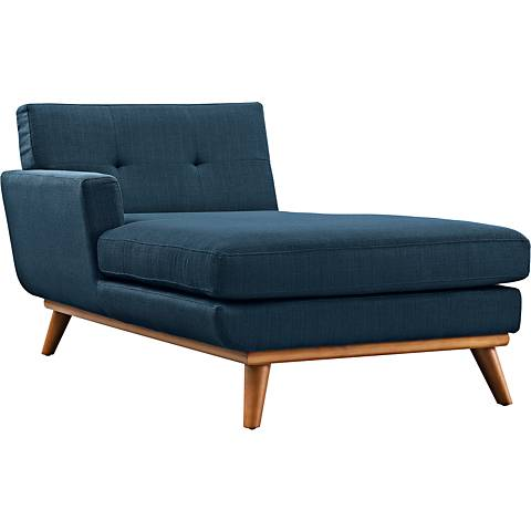 Engage Azure Fabric Tufted Left-Arm Chaise