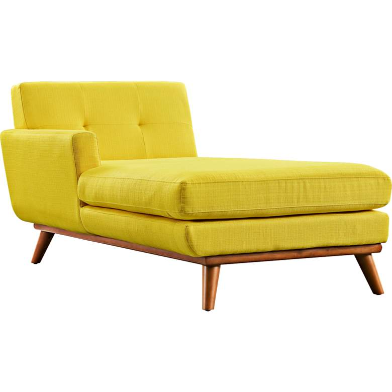 """Engage 36 1/2"""" Wide Sunny Yellow Tufted Left-Arm Chaise"""