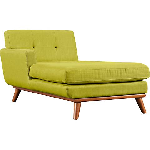 Engage Wheatgrass Fabric Tufted Left-Arm Chaise