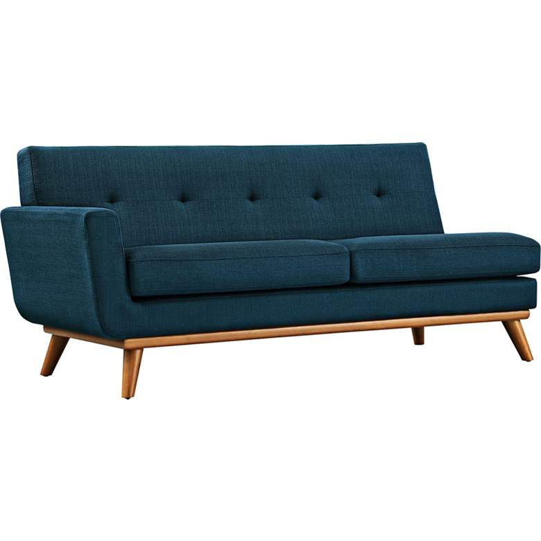 "Engage 67"" Wide Azure Blue Fabric Tufted Left-Arm Loveseat"