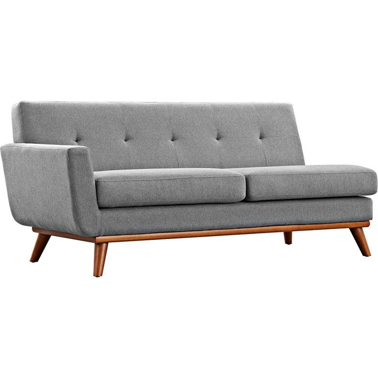 """Engage 67"""" Wide Gray Fabric Tufted Left-Arm Loveseat"""