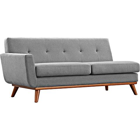 Engage Expectation Gray Fabric Tufted Left-Arm Loveseat