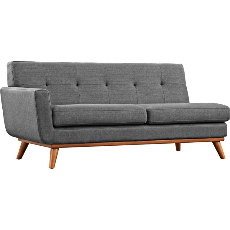"Engage 67"" Wide Gray Fabric Tufted Left-Arm Loveseat"