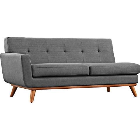 Engage Gray Fabric Tufted Left-Arm Loveseat