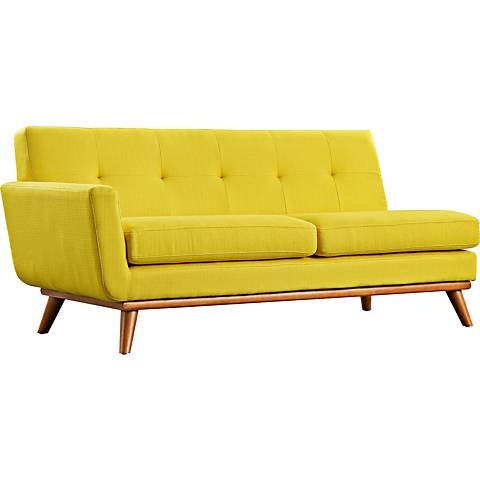 Engage Sunny Fabric Tufted Left-Arm Loveseat