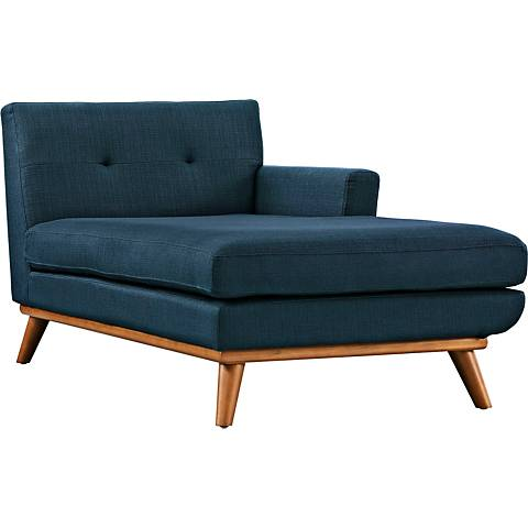 Engage Azure Fabric Tufted Right-Arm Chaise