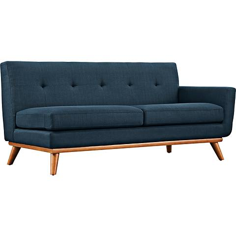 Engage Azure Fabric Tufted Right-Arm Loveseat