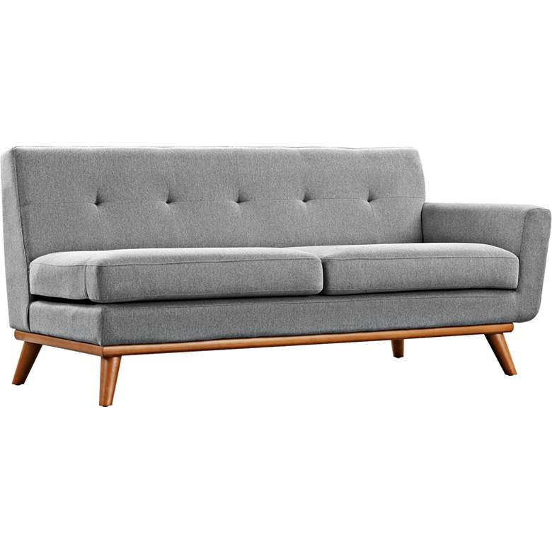 "Engage 67"" Wide Gray Fabric Tufted Right-Arm Loveseat"