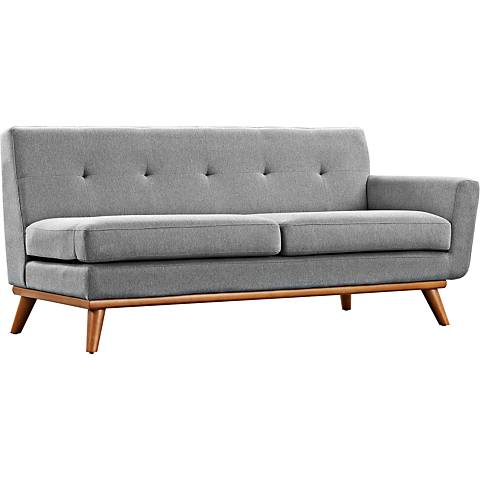 Engage Expectation Gray Fabric Tufted Right-Arm Loveseat