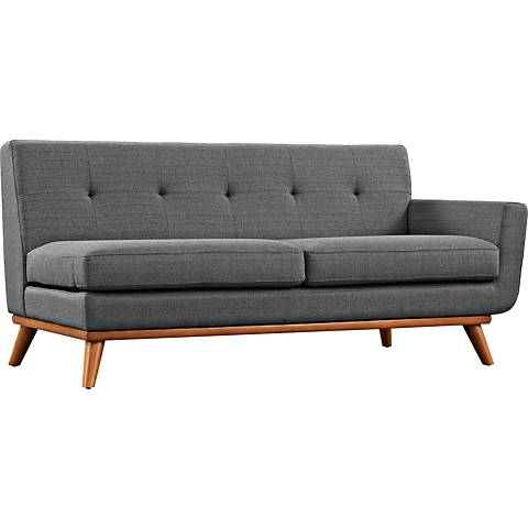 Engage Gray Fabric Tufted Right-Arm Loveseat