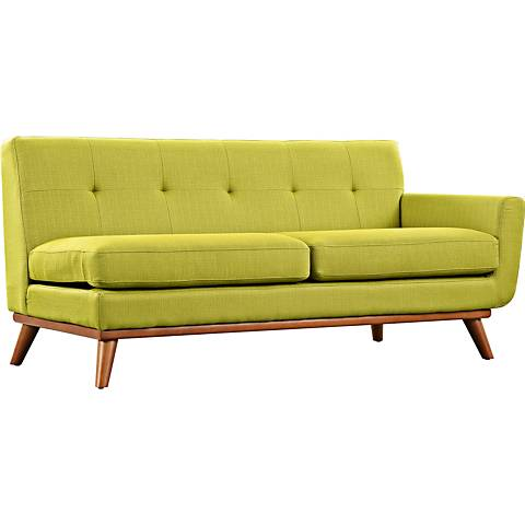 Engage Wheatgrass Fabric Tufted Right-Arm Loveseat
