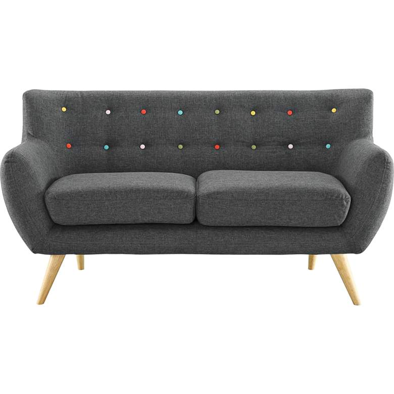 """Remark 61 1/2"""" Wide Gray Fabric Tufted Loveseat"""