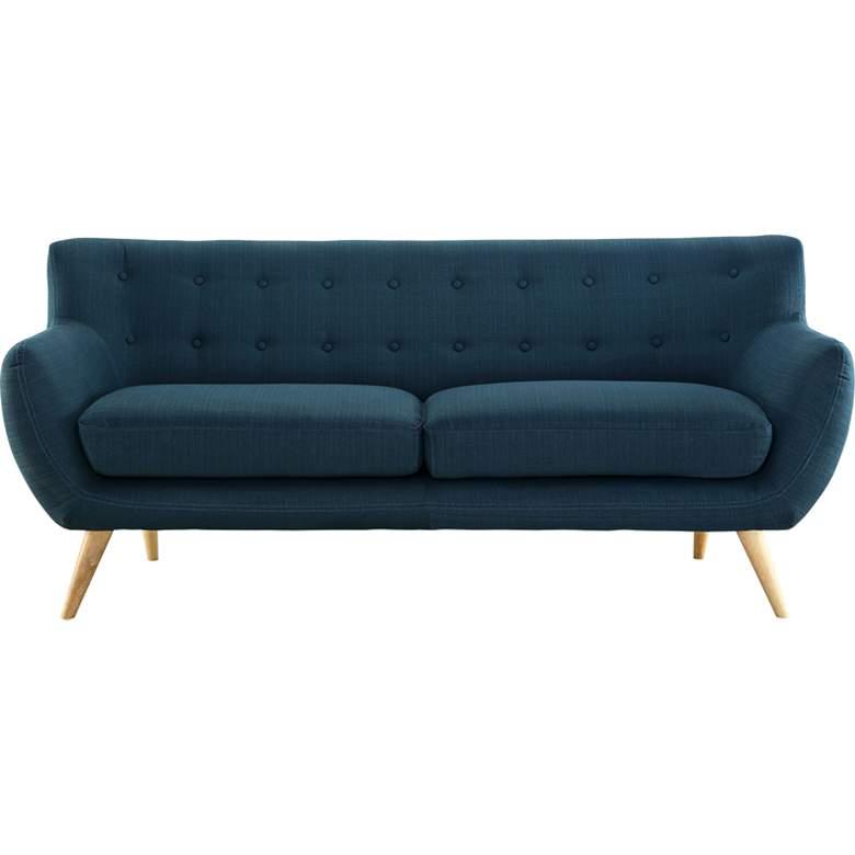 "Remark 74"" Wide Azure Blue Fabric Tufted Modern Sofa"