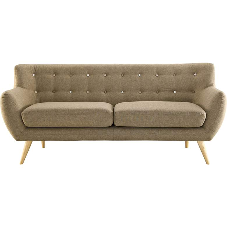 """Remark Brown 74"""" Wide Fabric Tufted Sofa"""