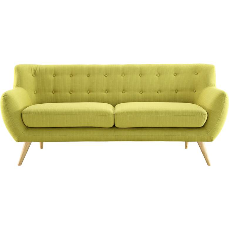 "Remark Wheatgrass Fabric 74"" Wide Tufted Sofa"