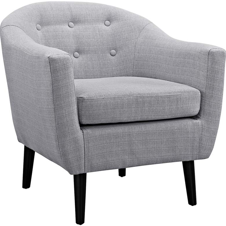 Wit Light Gray Fabric Tufted Armchair