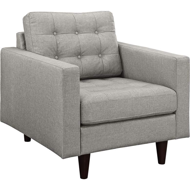 Empress Light Gray Fabric Tufted Armchair