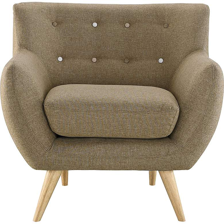 Remark Brown Fabric Tufted Armchair