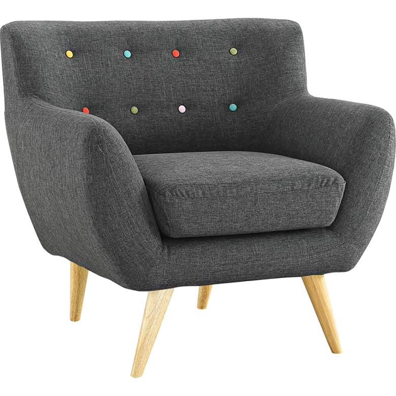Remark Gray Fabric Tufted Armchair