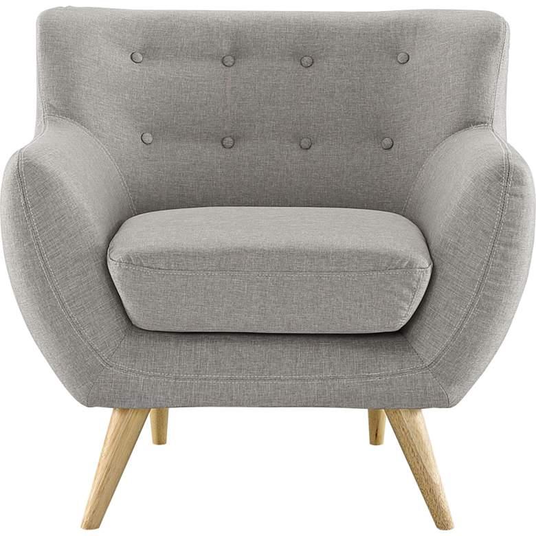 Remark Light Gray Fabric Tufted Armchair