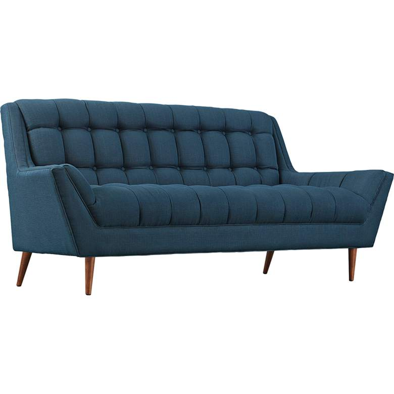 "Response 78"" Wide Azure Fabric Tufted Loveseat"