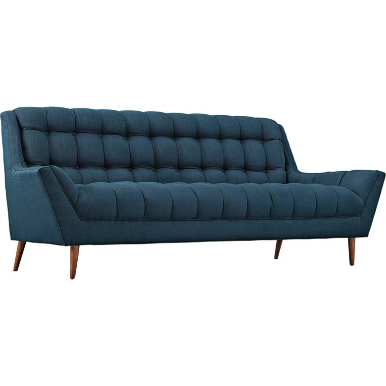 "Response Azure 89"" Wide Fabric Tufted Sofa"