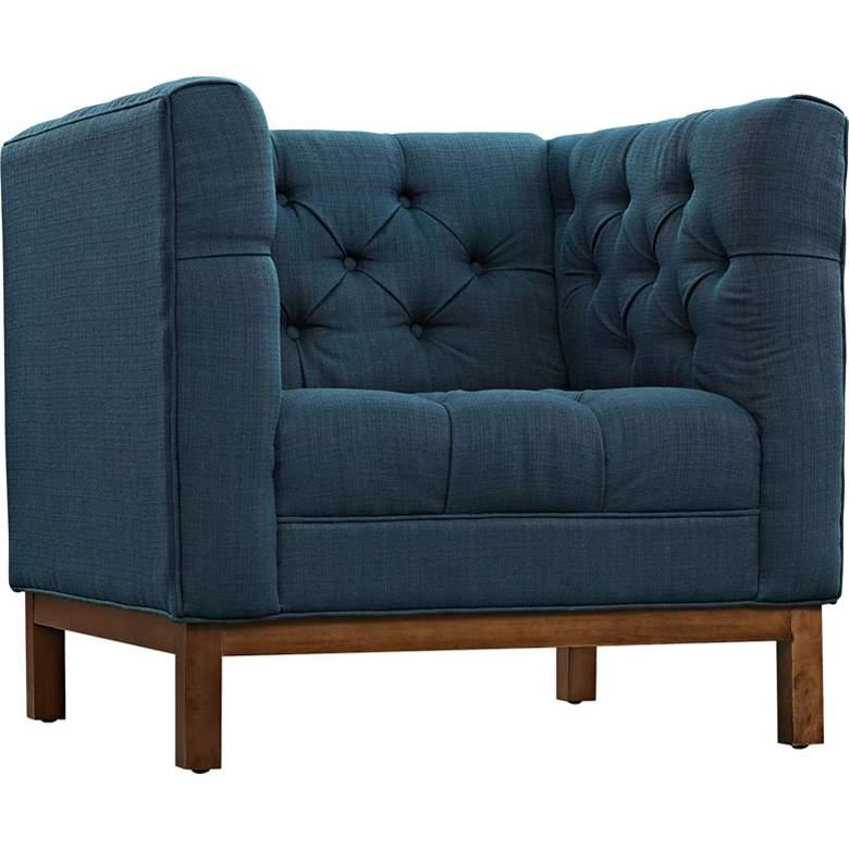 Panache Azure Fabric Tufted Armchair