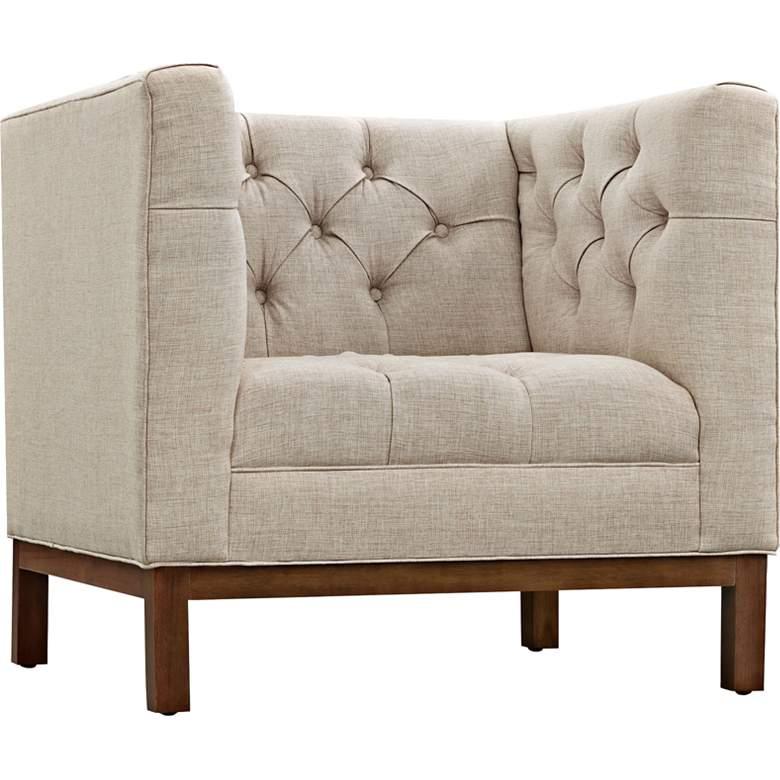 Panache Beige Fabric Tufted Armchair
