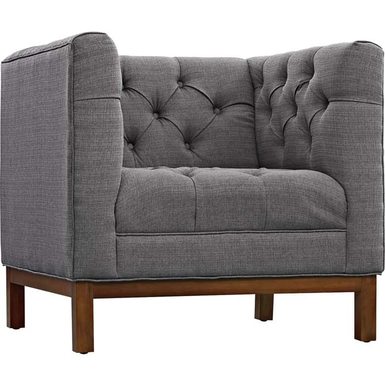 Panache Gray Fabric Tufted Armchair