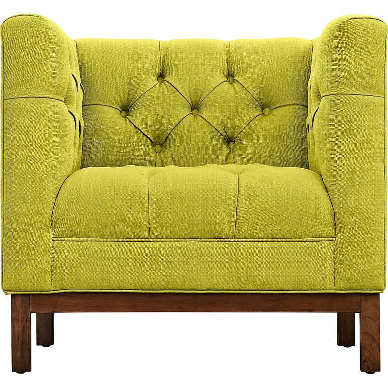 Panache Wheatgrass Fabric Tufted Armchair