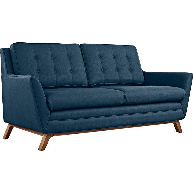 """Beguile 71 1/2"""" Wide Azure Fabric Tufted Loveseat"""