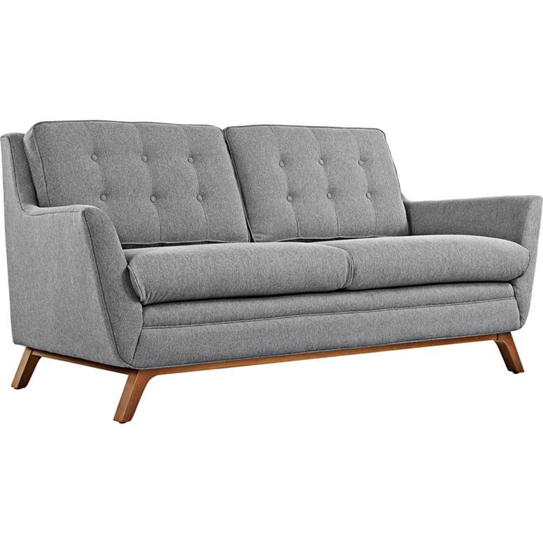 "Beguile 71 1/2"" Wide Expectation Gray Fabric Tufted Loveseat"