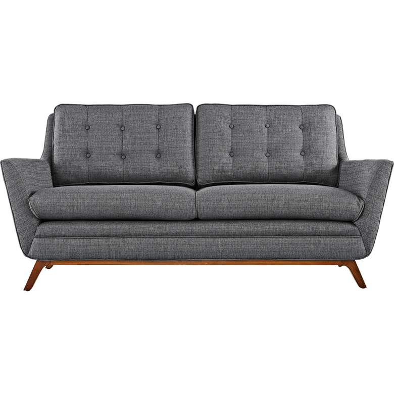 "Beguile 71 1/2"" Wide Gray Fabric Tufted Loveseat"