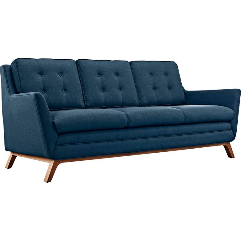 "Beguile Azure 83 1/2"" Wide Fabric Tufted Sofa"